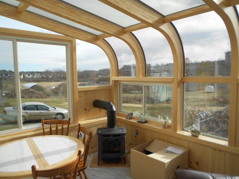 MA Add an All-Season Curved-Glass Sunroom with Pellet-Stove Fireplace
