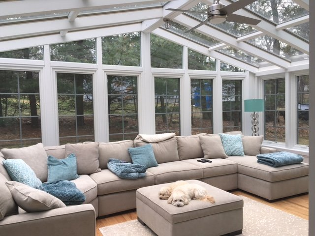 MA All Season Gable Sunroom Addition with Elegant White Beams