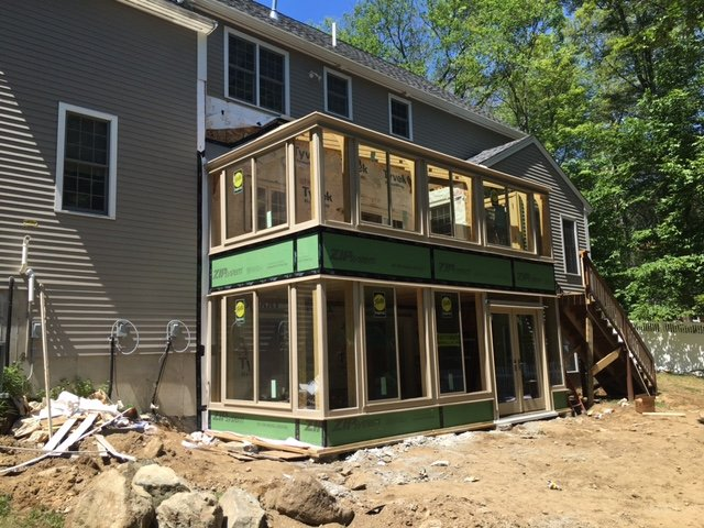 Exterior MA Four Season Two Story Sunroom Addition Creates Space and Value