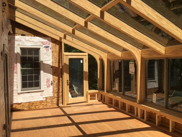 Unfinished MA Four Season Two Story Sunroom Addition Creates Space and Value