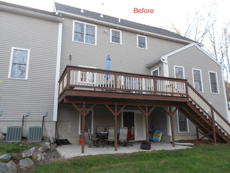 Before Installation MA Four Season Two Story Sunroom Addition Creates Space and Value