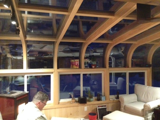 MA Curved-Eave All-Season Sunroom Addtion with Fireplace