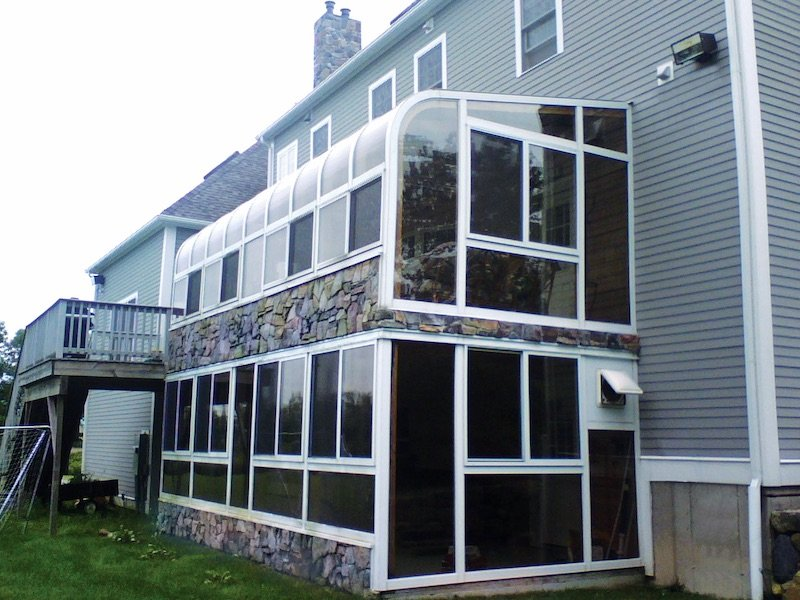 MA Deck Converted to Two Story Sunroom Addition with Indoor Hot Tub