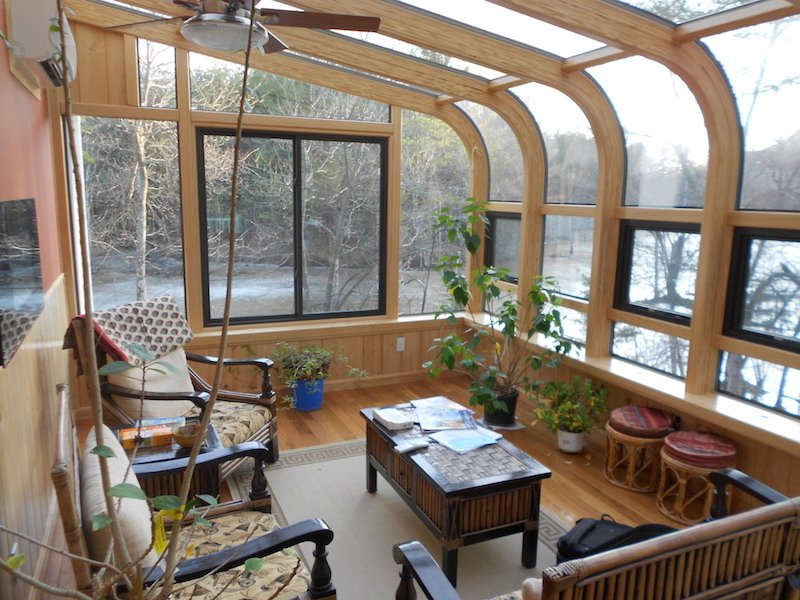 MA Enclose a Deck with a 4 Season Curved Glass Sunroom Addition