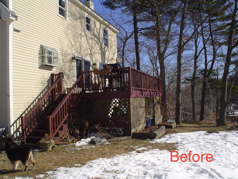 MA Before Enclosing Deck with All-Season Sunroom Addition