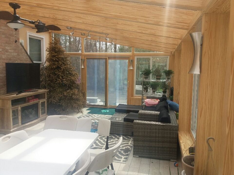 MA Interior of Enclosed Patio with a 4 Four Season Sunroom