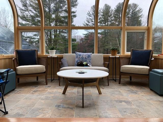 MA Interior of Enclosed Second-Story Deck with All-Season Curved-Glass Sunroom Addition
