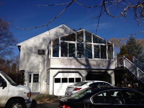 Exterior MA Four Season Sunroom Addition Above Garage