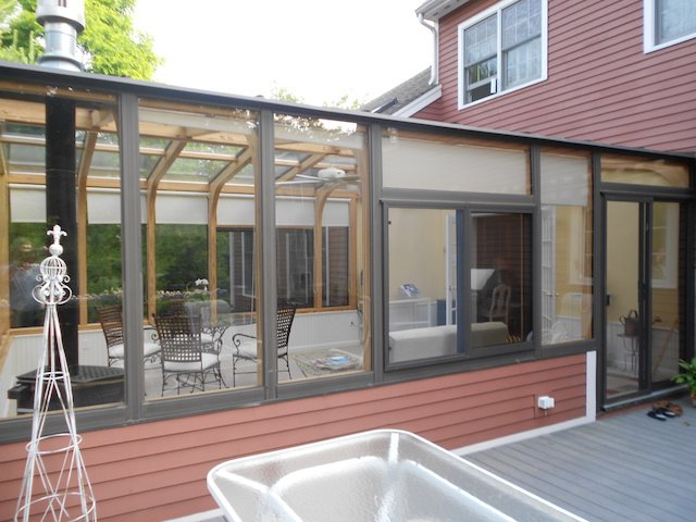 MA Partially Enclosed Deck with.Gable All-Season Sunroom Addition