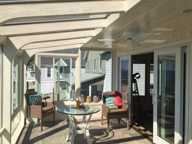 RI Screened-In Porch Enclosed to All-Season Solarium with Ocean Views
